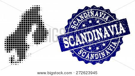 Geographic collage of dot map of Scandinavia and blue grunge seal stamp imprint. Halftone vector map of Scandinavia composed with rectangular points. Flat design for cartographic illustrations. poster