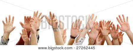hands up group people isolated on white background