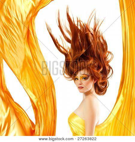 fire teenager girl beautiful red hair enjoying
