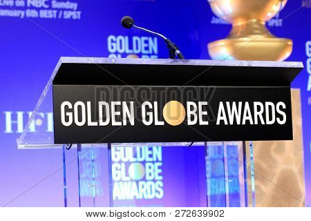 BEVERLY HILLS, CA - DEC 6: General atmosphere, sign at the nomination announcements for the 76th Annual Golden Globe Awards at the Beverly Hilton Hotel on December 6, 2018 in Beverly Hills, CA