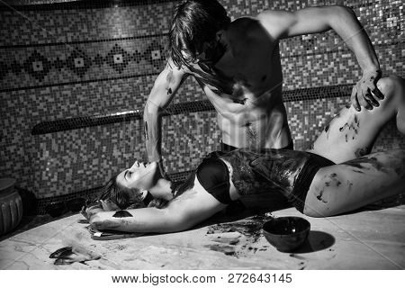 Pretty Woman Or Girl In Erotic Lingerie With Sexy Body And Handsome Bearded Man With Muscular Torso