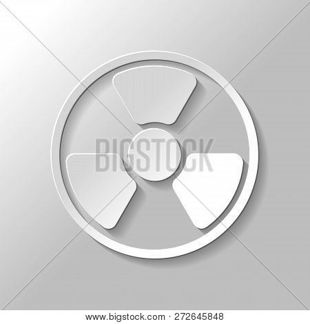 Hazard, Radiation. Simple Silhouette. Set Of Paper Style Icons With Shadow On Gray Background