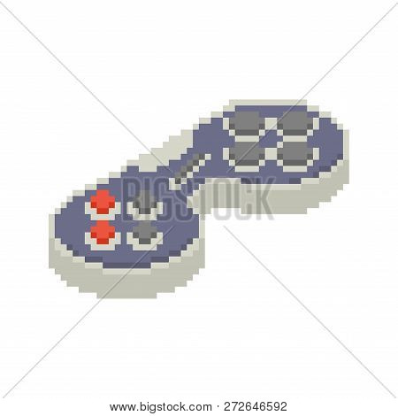 Gamepad pixel art. Joystick 8bit. Video game Old school control lever poster