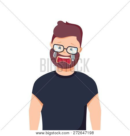 Upset Man Crying. Resentment And Pain. Vector Illustration In Cartoon Style. Headache, Disappointmen
