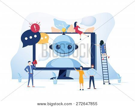 Concept Chatbot And Future Marketing Concept, Support For Web Page, Social Media. Vector Illustratio