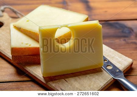 Assortment Of Swiss Cheeses Emmental Or Emmentaler Medium-hard Cheese With Round Holes, Gruyere, App