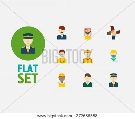 Occupation Icons Set. Teamwork And Occupation Icons With Nurse, Arab Worker And Office Boss. Set Of