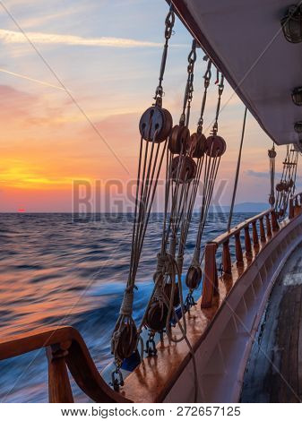 Sunset at the Sailboat deck while cruising in the Cyclades in Greece Long exposure