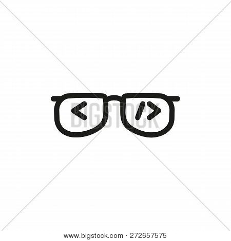 Html Brackets In Glasses Line Icon. Programmer, Software Developer, Backend. Coding Concept. Vector