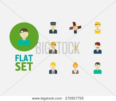Occupation Icons Set. Teamwork And Occupation Icons With Chef, Engineer And Manager. Set Of Administ