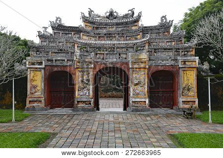 The Gate To The Hien Lam Pavilion In The Imperial City, Hue, Vietnam