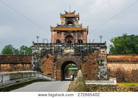 Ngan Gate, One Of The Entrances To The Imperial City In Hue, Vietnam