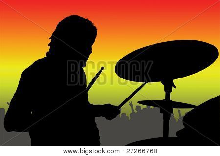 Vector illustration of percussionist black silhouette under the color background