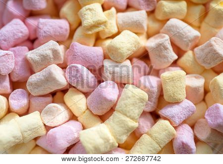 Spongy And Sugary. Colorful Mini Marshmallow Background Or Texture. Marshmallow Souffle With Sweet F