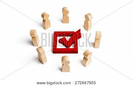 People stand in a circle and look at the red check mark in the box. election, poll or referendum. Poll people. Voters participate in elections of parliament or president, teamwork. Selective focus poster