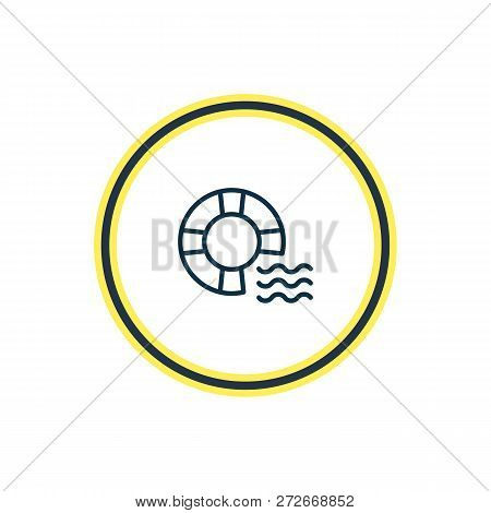 Illustration Of Lifebuoy Icon Line. Beautiful Nautical Element Also Can Be Used As Lifeguard Icon El