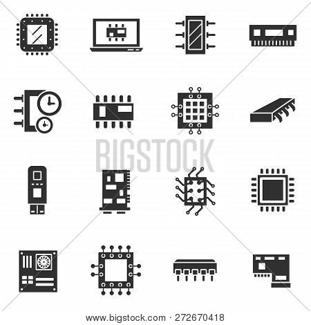 Microchips, Electronic Circuitry. Monochrome Icons. Isolated Vector Illustration