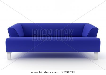 3D Blue Sofa Isolated On White Background