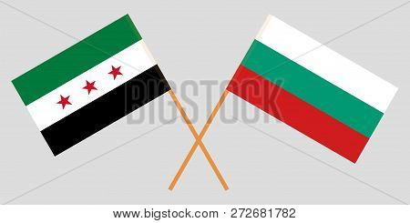 Flags Of Bulgaria And Syrian National Coalition. Vector Illustration