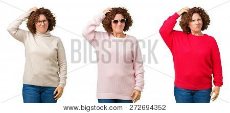 Collage of middle age senior woman wearing winter sweater over white isolated background confuse and wonder about question. Uncertain with doubt, thinking with hand on head. Pensive concept.
