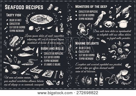 Seafood Menu Chalk Drawing Sketches Isolated On Blackboard. Cookbook Recipes Or Restaurant Menu Desi