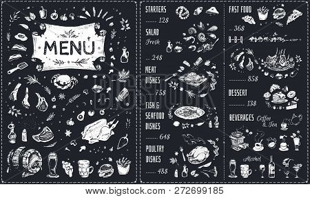 Menu Hand Drawn Chalk Design With White Food Icons On Blackboard. Isolated Vector Sketch Of Meat Dis
