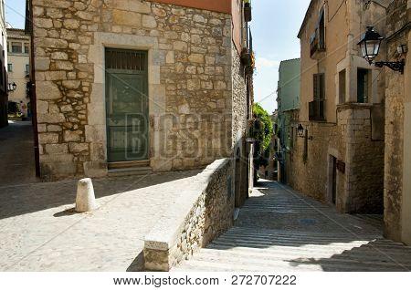 Narrow Cobble Street - Girona - Spain