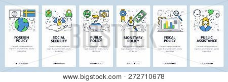 Web Site Onboarding Screens. Government Office Policy And Ministry. Menu Vector Banner Template For