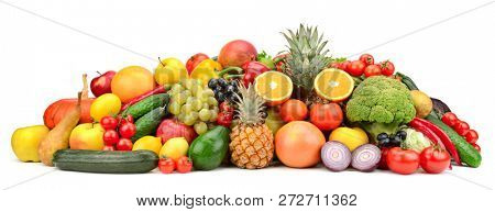 Fresh tasty vegetables, fruits and berries isolated on white background. Copy space