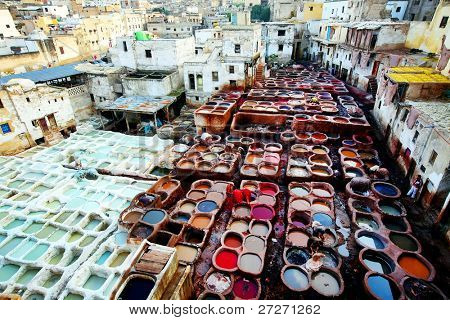 Tanneries of Fes, Morocco, Africa poster