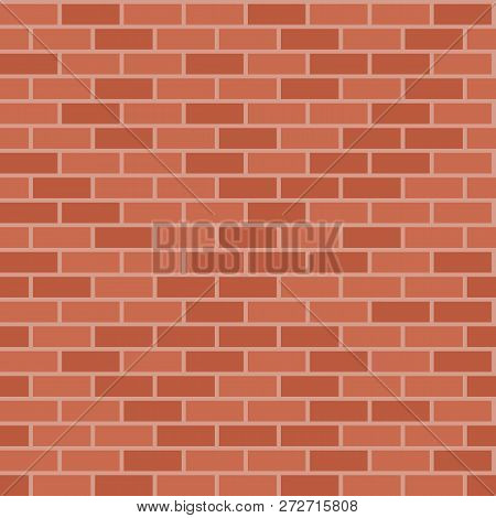 Brick Wall Texture. Old Stone Surface. Brown Red Seamless Bricks Wall. Vector Illustration Flat Desi