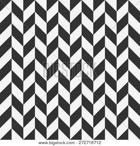 Checkered Seamless Pattern With Alternating Parallelogram. Optical Illusion, Contrasty Monochrome Ba