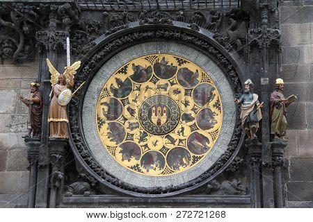 Prague, Czech - April 23, 2012: This Is The Calendar Dial Of The Medieval Prague Astronomical Clock.
