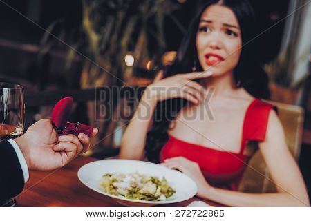 Man Proposing Engagement Ring And Getting Denied. Romantic Hispanic Couple In Love Dating. Cutel Man