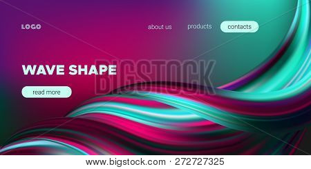 Wave Background, Abstract Colorful Poster With 3d Effect. Flow Liquid Shape. Fluid Vibrant Texture.