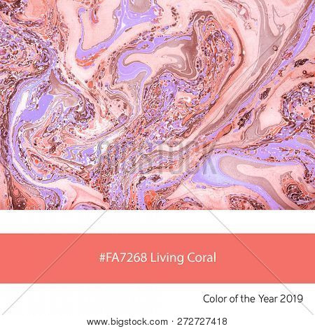 Hand marbled paper as an example of the trend colour of the year 2019, Living Coral, with corresponding colour hex code.