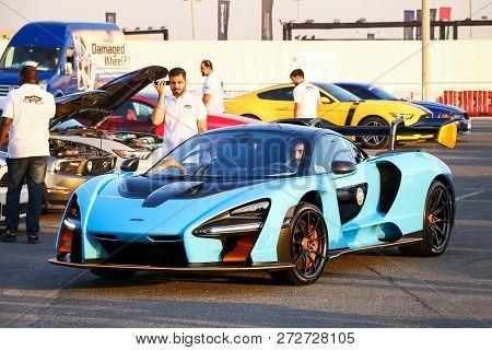 Dubai, Uae - November 15, 2018: Modern Hypercar Mclaren Senna Takes Part In The Annual Gulf Car Fest