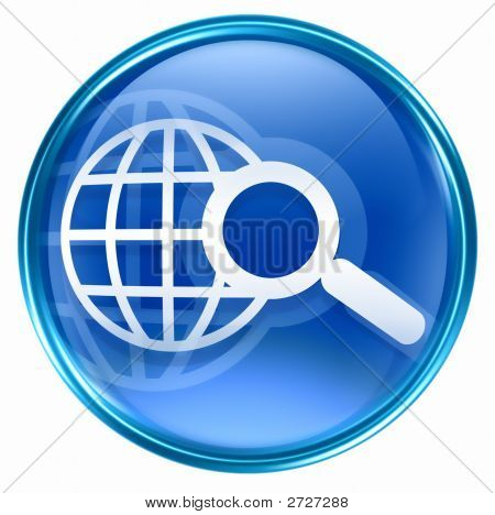 Search And Magnifier Icon Blue