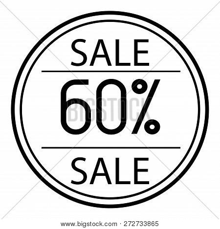 Icon Sales With Percent On A White Background. 60