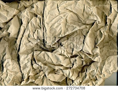 Abstract Old Crumpled Brown Paper Texture, Brown Wrinkle Recycle Paper Background, Creased Beige Paper Texture, Rough Texture Background of Brown Paper poster