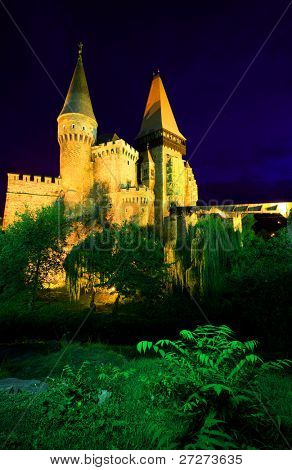 Corvinesti Castle by night, Romania