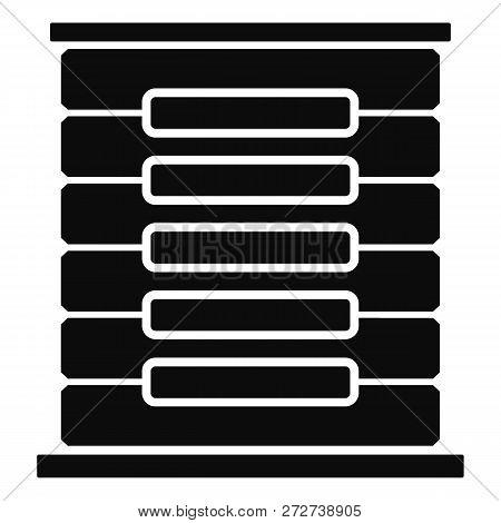 Server Rack Icon. Simple Illustration Of Server Rack Icon For Web Design Isolated On White Backgroun