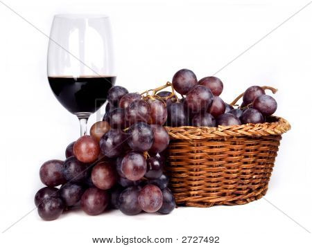 Red Wine And  Grapes