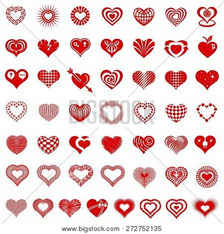 Heart Form Logo Types Icons Set. Simple Illustration Of 50 Heart Form Logo Types Icons For Web