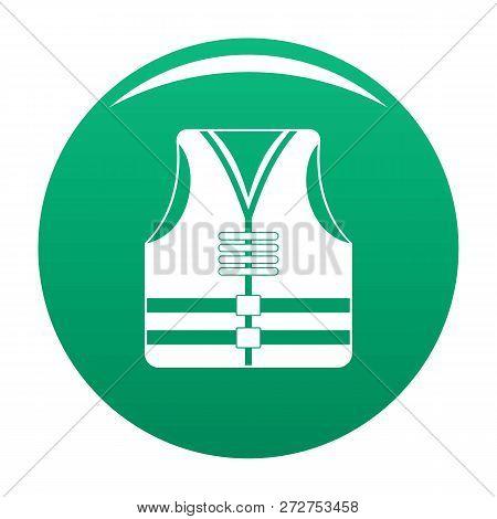 Rescue Vest Icon. Simple Illustration Of Rescue Vest Icon For Any Design Green