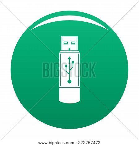 Portable Flash Drive Icon. Simple Illustration Of Portable Flash Drive Icon For Any Design Green
