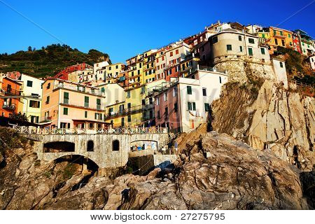 Sunset light in Manarola Village, Cinque Terre, Italy