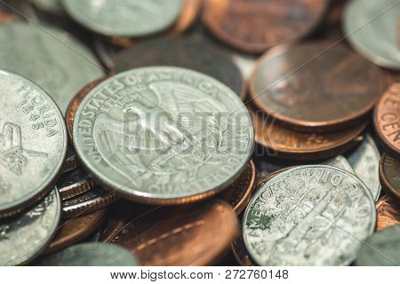 American Coins Closeup Including Quarters, Nickels And Dimes, Selective Focus. Quater Dollar