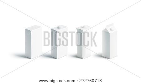 Blank White Juice Or Milk Pack Mockup Set, Different Types, 3d Rendering. Empty Carton Pack Mock Up,