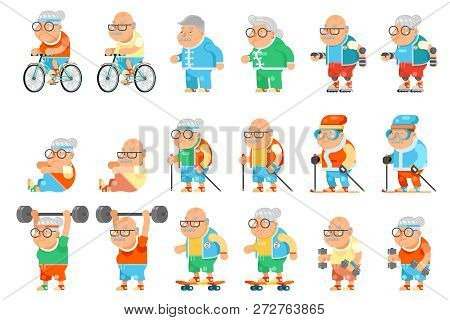 Healthy Activities Fitness Granny Grandfather Adult Old Age Man Woman Characters Set Cartoon Flat De
